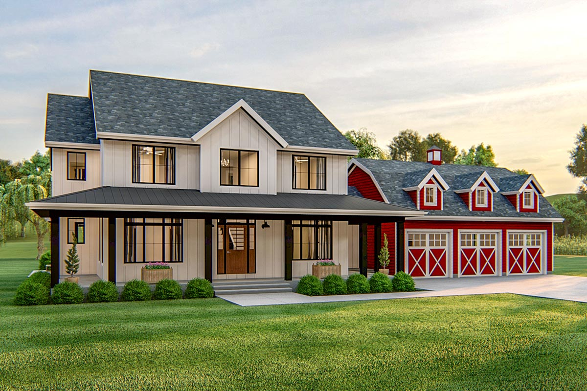 Exclusive Modern Farmhouse Plan with Front-Loading Barn ...