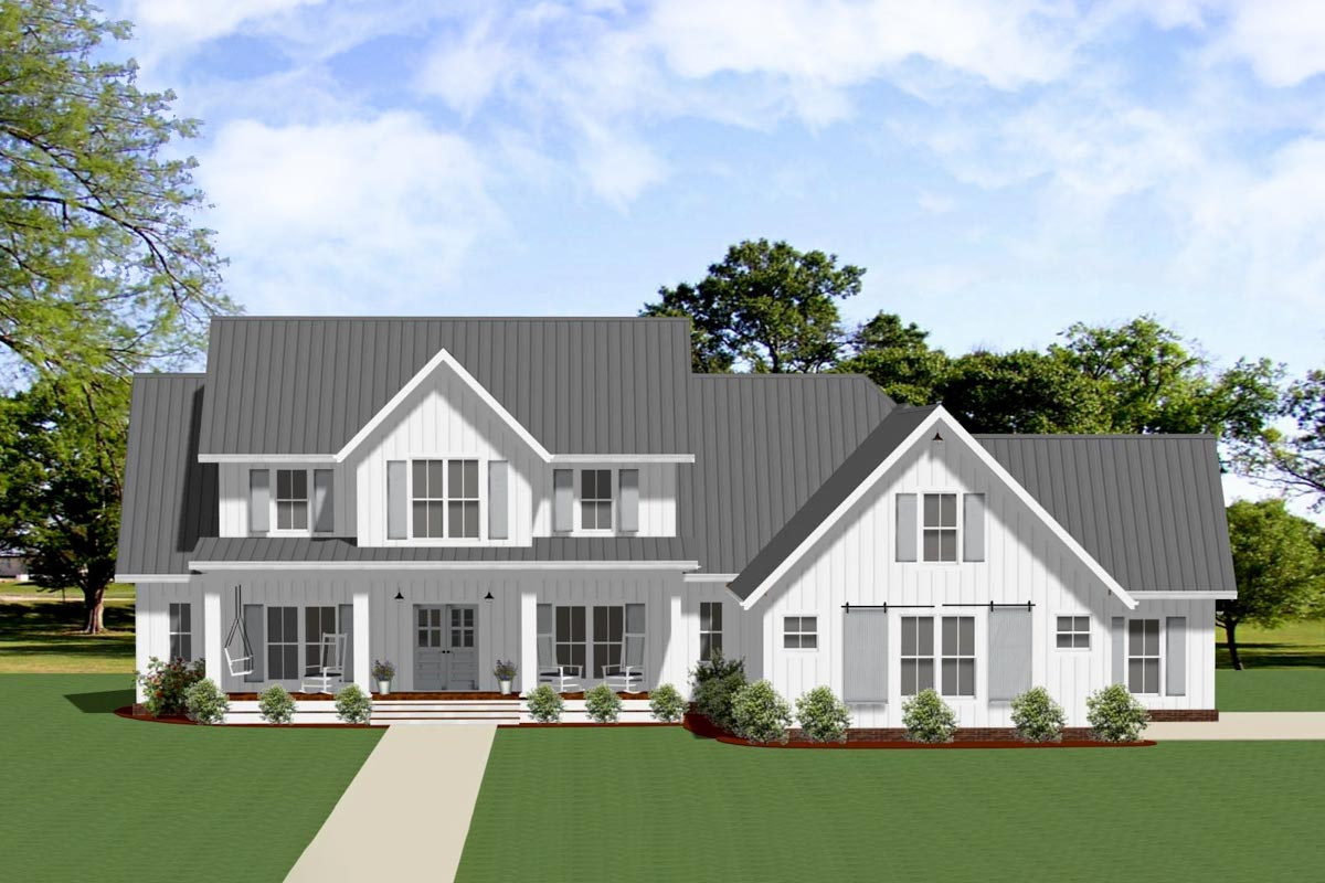 Exclusive Modern Farmhouse Plan with Outdoor Living Room ... on Farmhouse Outdoor Living Space id=35415