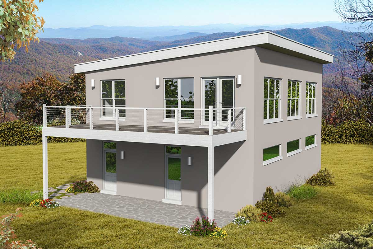Contemporary Carriage House Plan with Upstairs Balcony ...