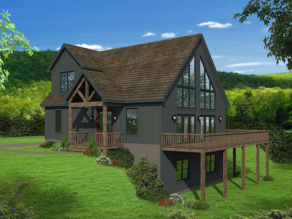 Two-story Mountain Home Plan with Vaulted Master Loft ...