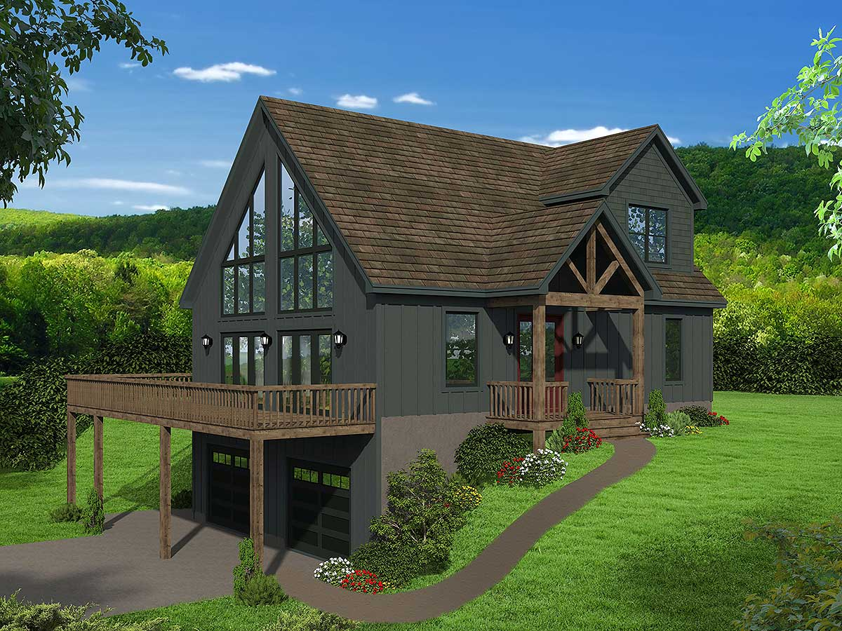 Two Story Mountain House Plan With Vaulted Master Loft