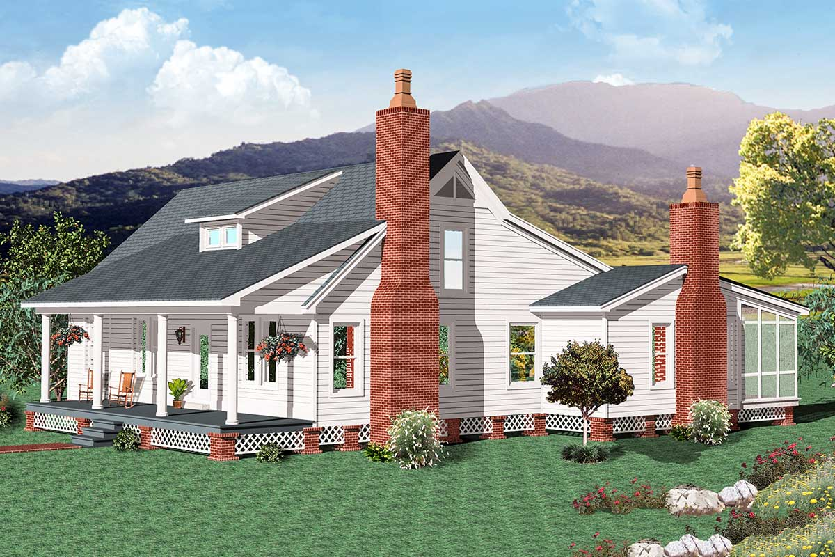 One-level Country Farmhouse Plan with Outdoor Living Space ... on Farmhouse Outdoor Living Space id=80538