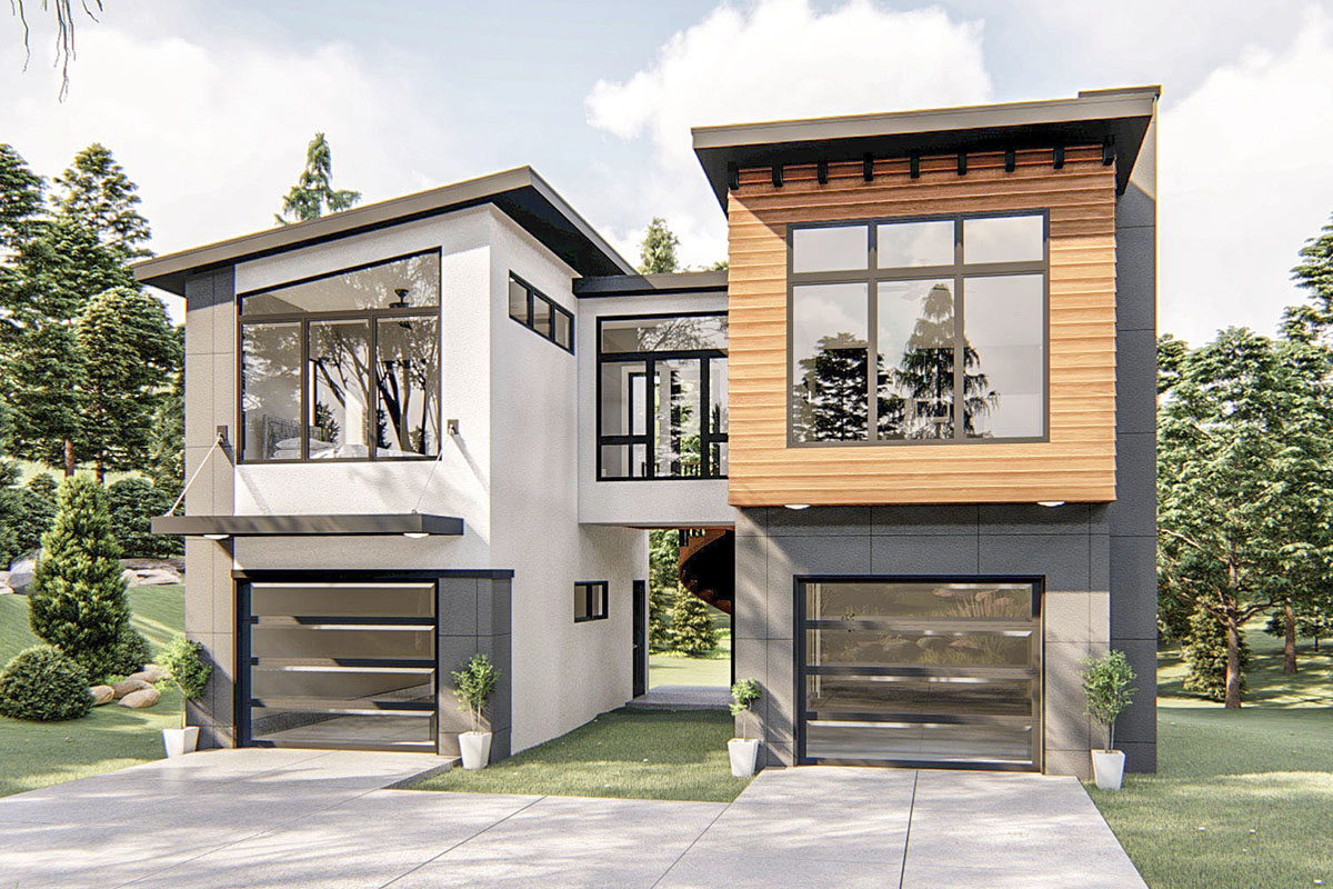 Contemporary Carriage House Plan with 1 Bedroom - 62782DJ ...