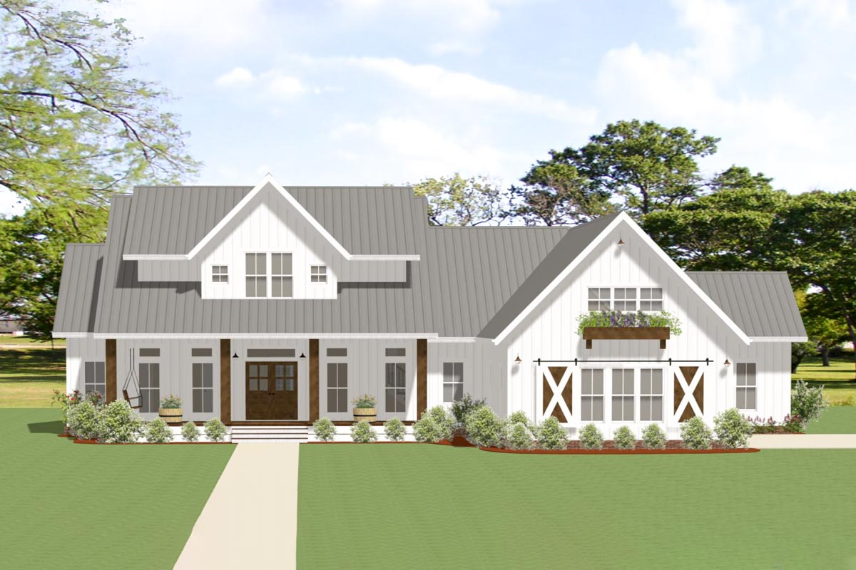 3-Bed Modern Farmhouse Plan with Outdoor Living Room and ... on Farmhouse Outdoor Living Space id=88667