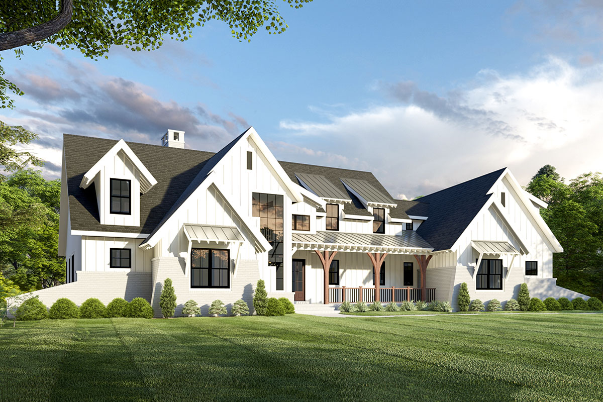 Exclusive 5-Bed Modern Farmhouse Plan with Unique Angled ...