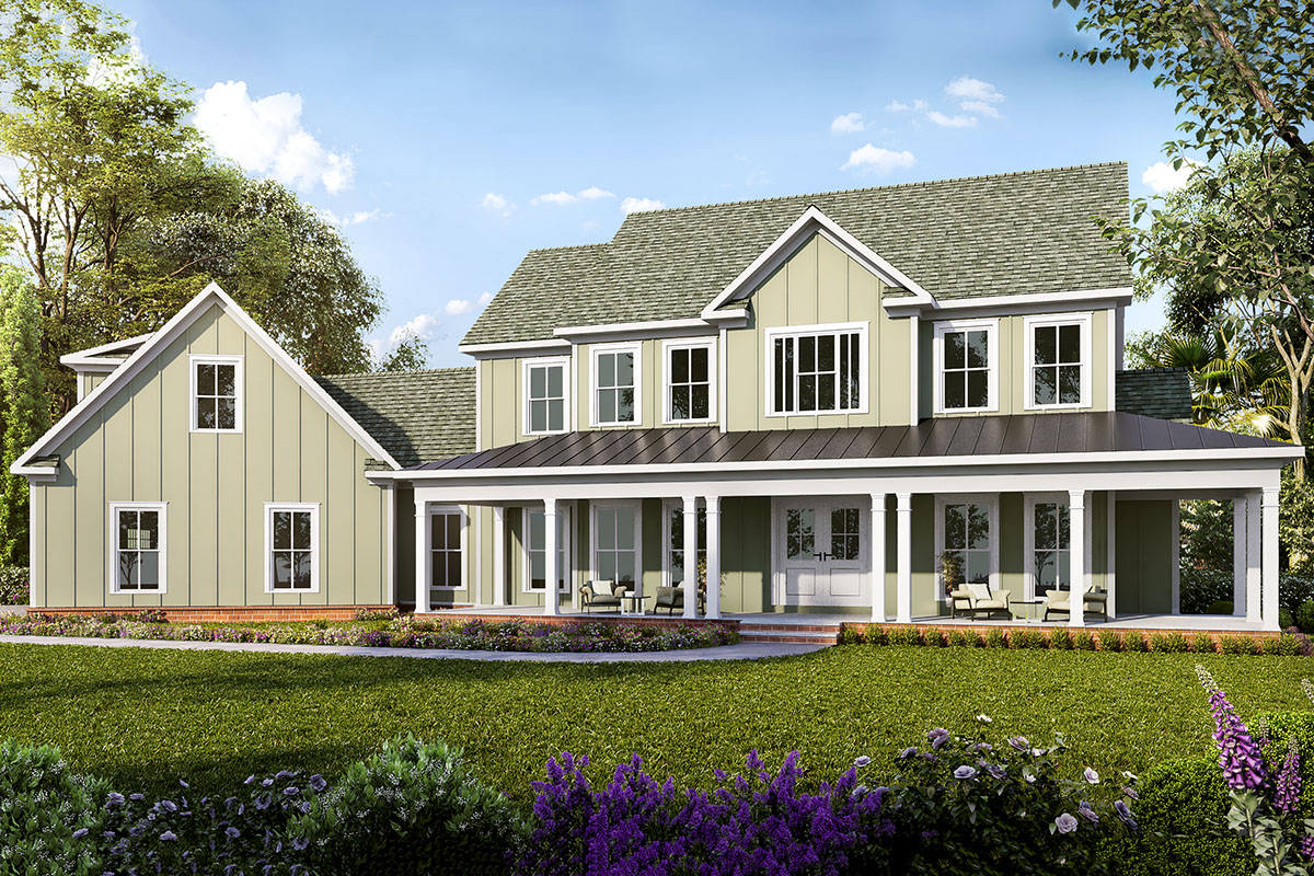 Two-story Country House Plan with Optional Bonus Room ...