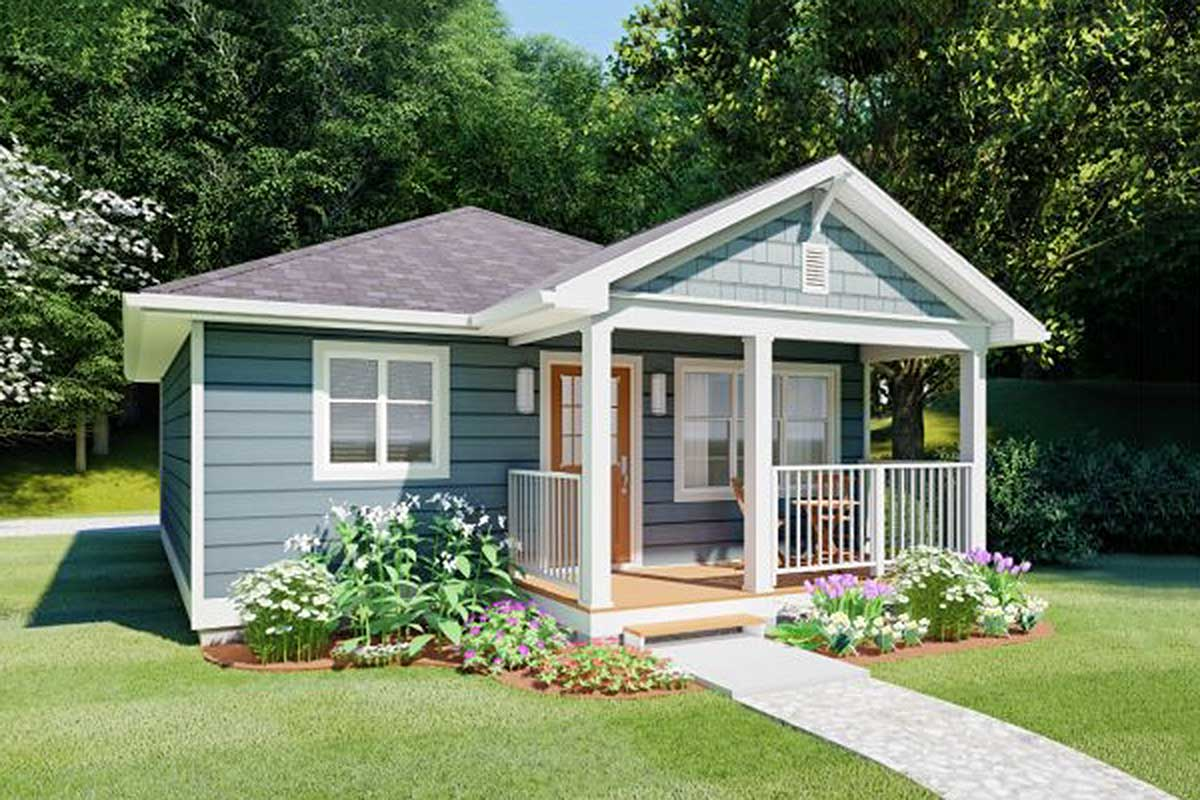 Cozy Tiny Home with Gabled Front Porch - 67754MG ...