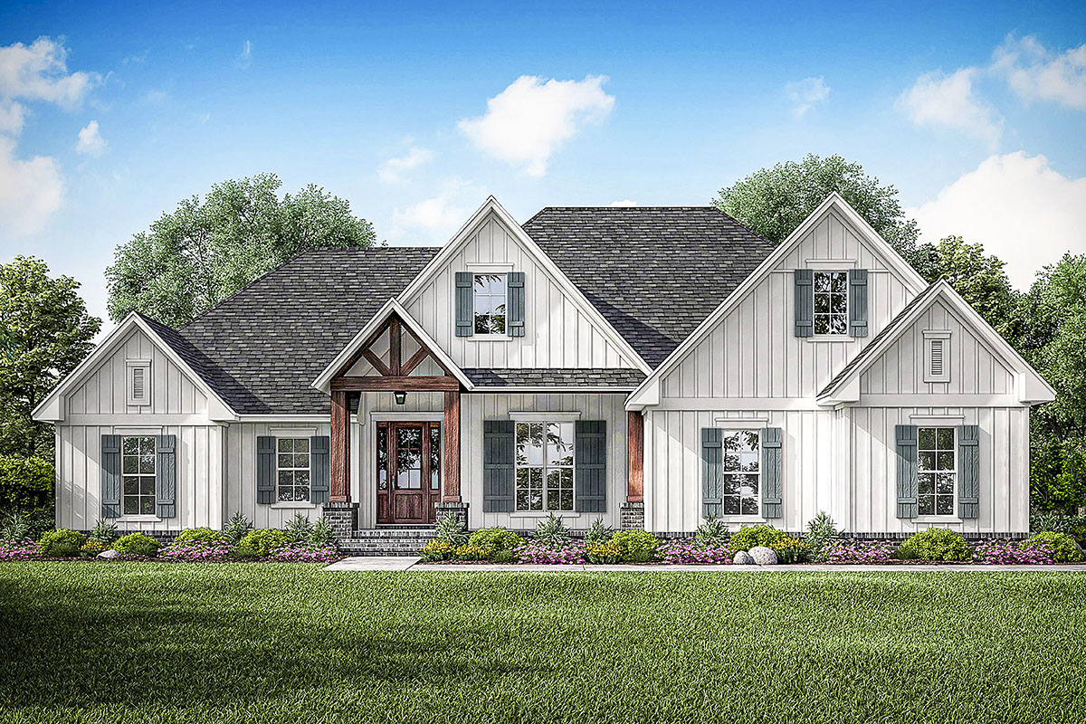 farmhouse style house new american house plan with volume ceilings throughout 51806hz architectural designs 8953