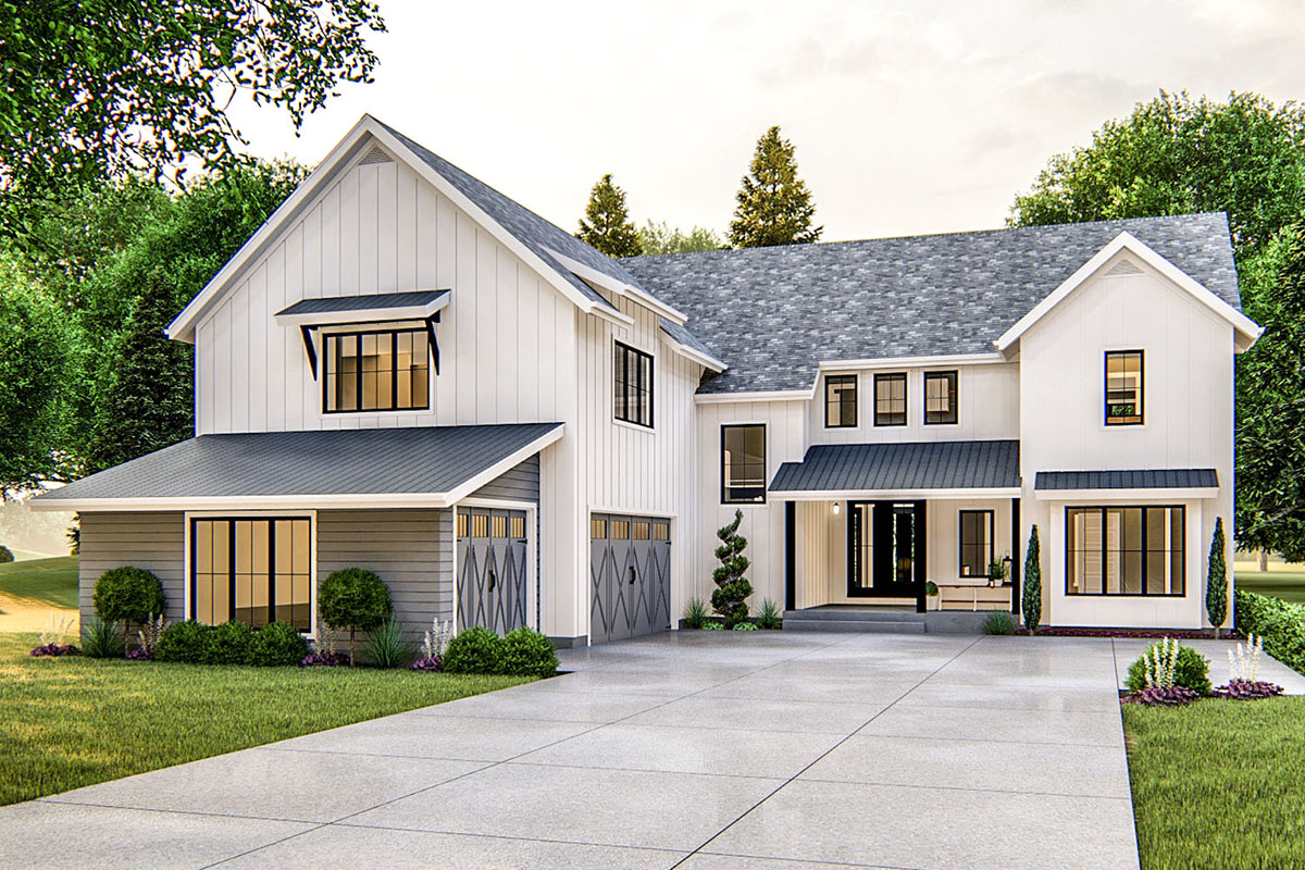 Exclusive Modern Farmhouse Plan With Courtyard Entry