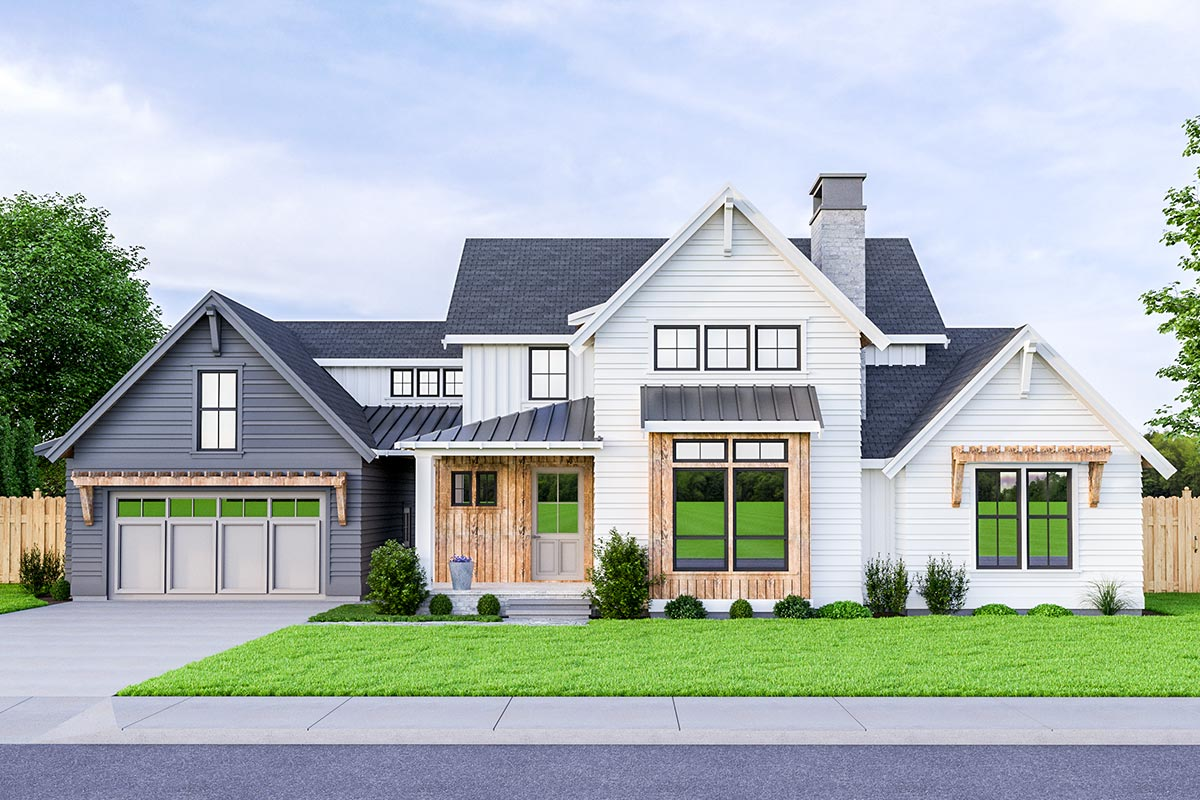3 Bed Modern Farmhouse Plan with Breezeway Attached Garage