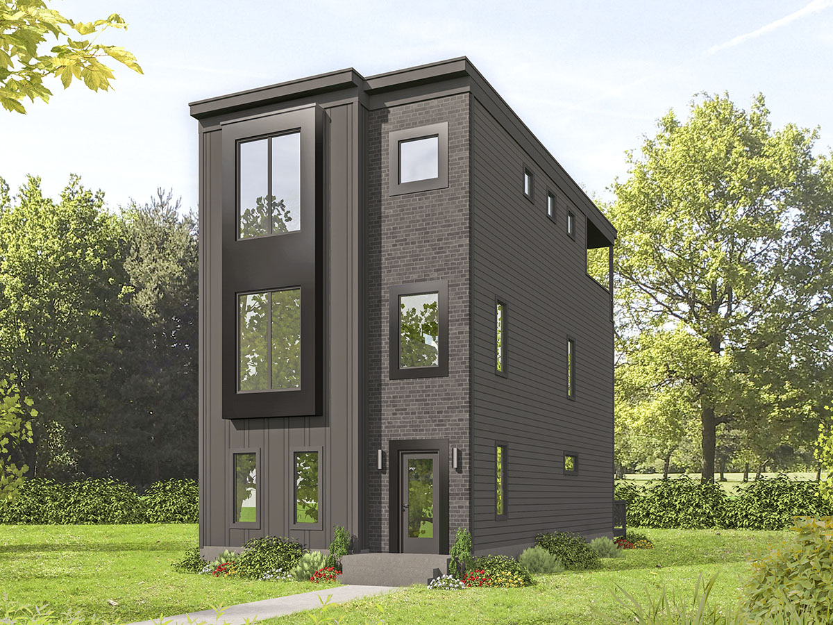 Contemporary 3-Story Home Ideal for Narrow Lot - 68634VR ...