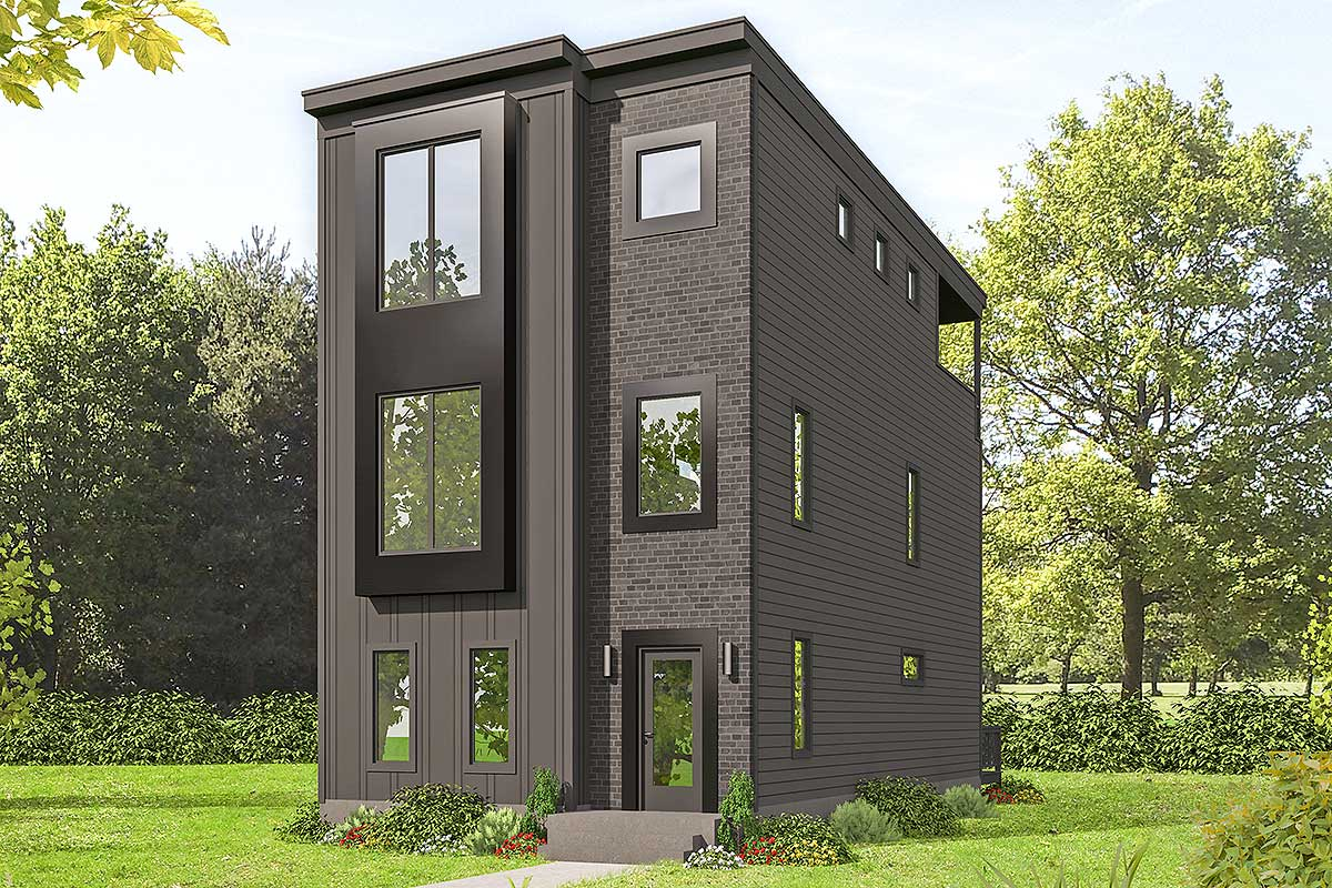 Contemporary 3 Story Home Ideal For Narrow Lot 68634vr Architectural Designs House Plans
