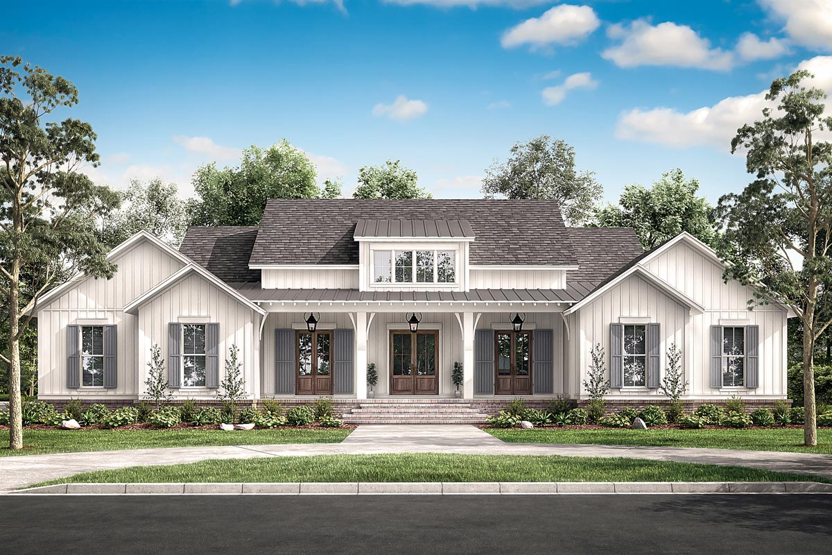 Stylish 4-Bed Modern Farmhouse Plan with Vaulted Master ...
