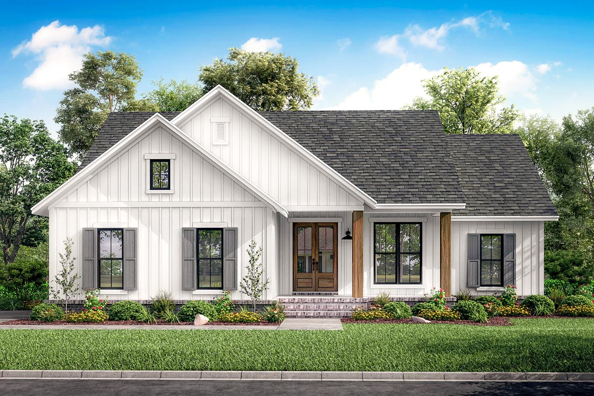 3-Bed New American Ranch Home Plan - 51811HZ ...