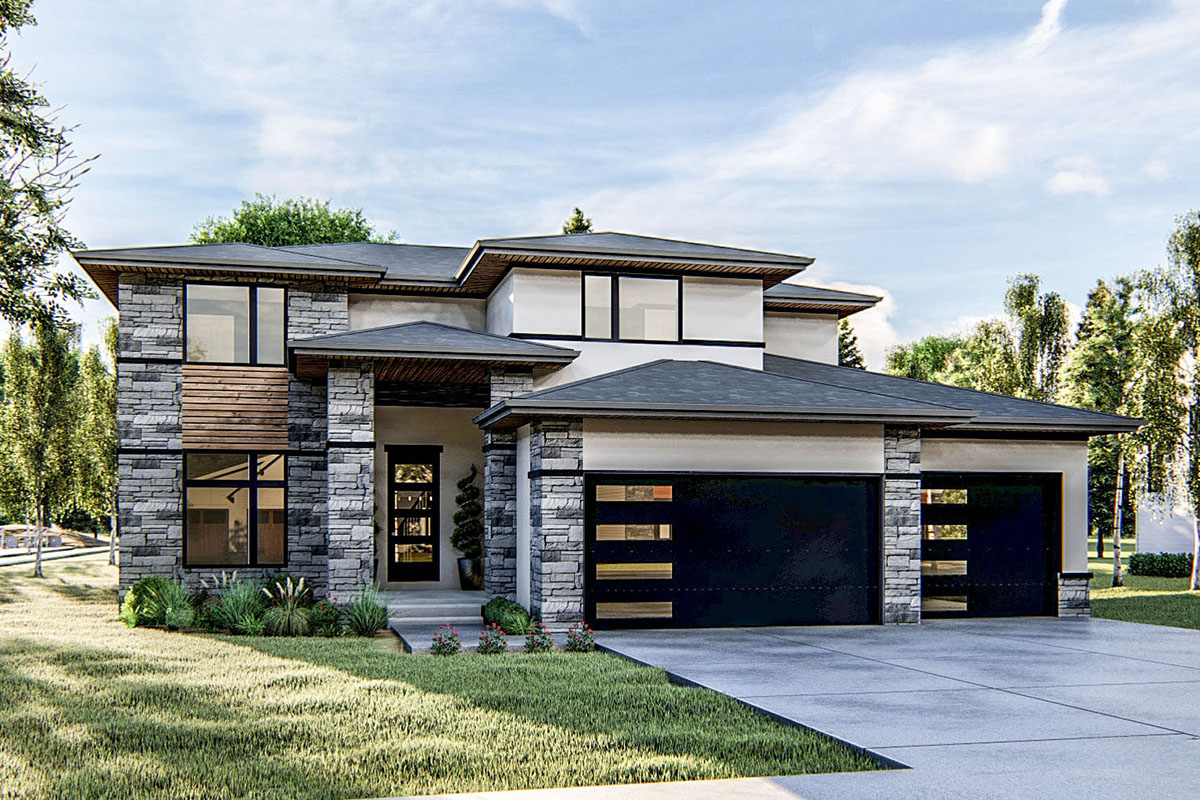 2-Story Modern Prairie-style House Plan - 62796DJ ...