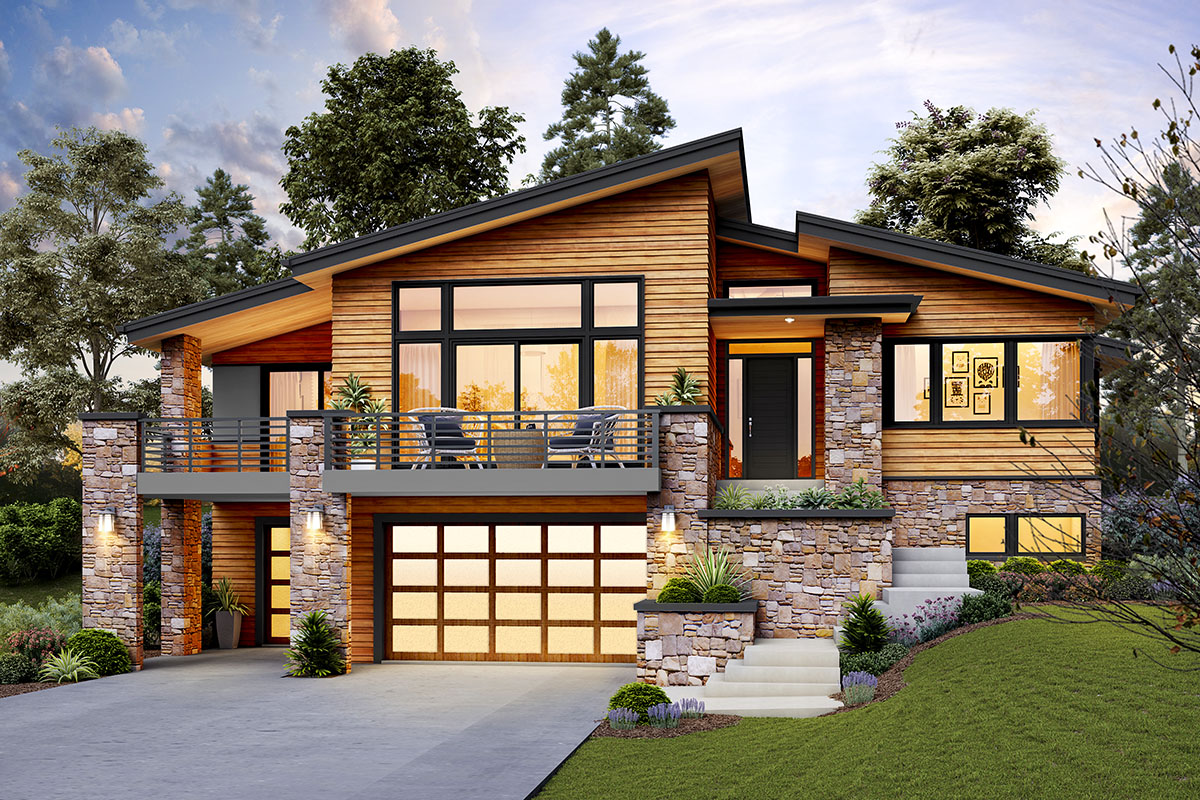 Modern Home Plan for an Up-Sloping Lot - 69746AM ...