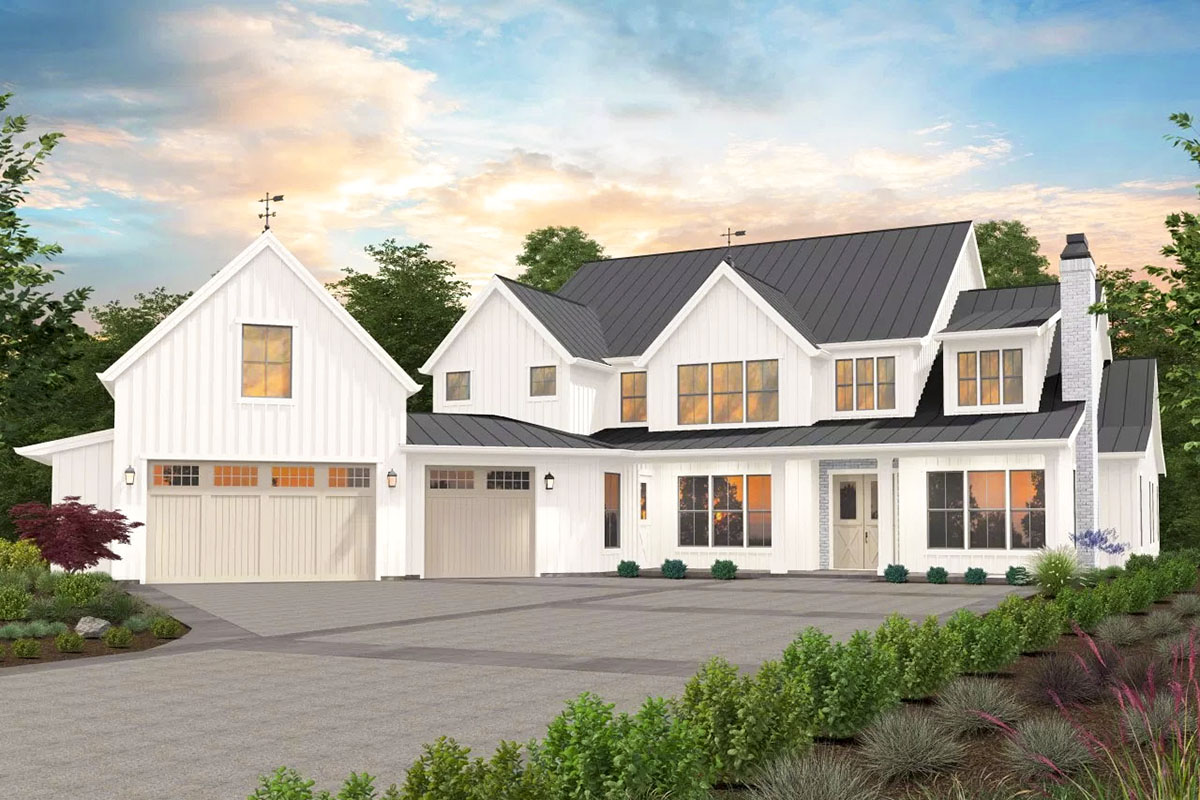 4-Bed Exclusive Luxury Modern Farmhouse Plan with Angled ...