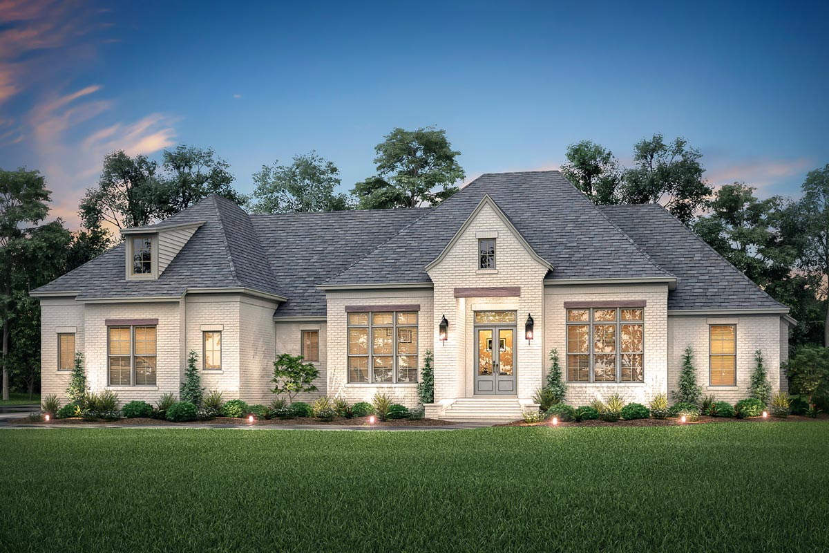 4-Bed Open Concept French Country House Plan with Bonus ...