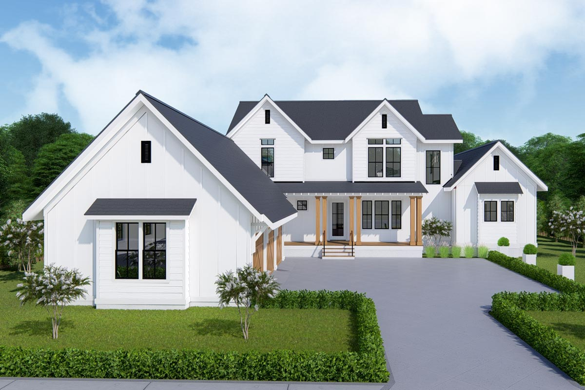 Two-Story Farmhouse Plan With First-Floor Master