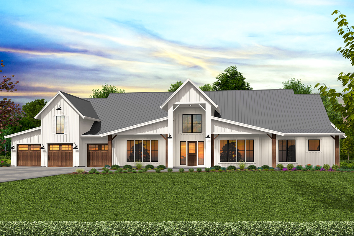 Fully Featured Modern Barn House Plan with Indoor Outdoor ...