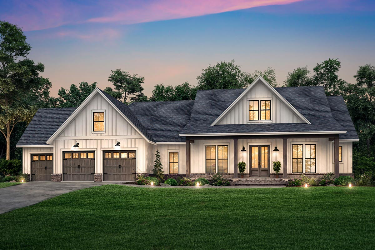 Modern Farmhouse Plan with 3-Car Front-entry Garage and ...