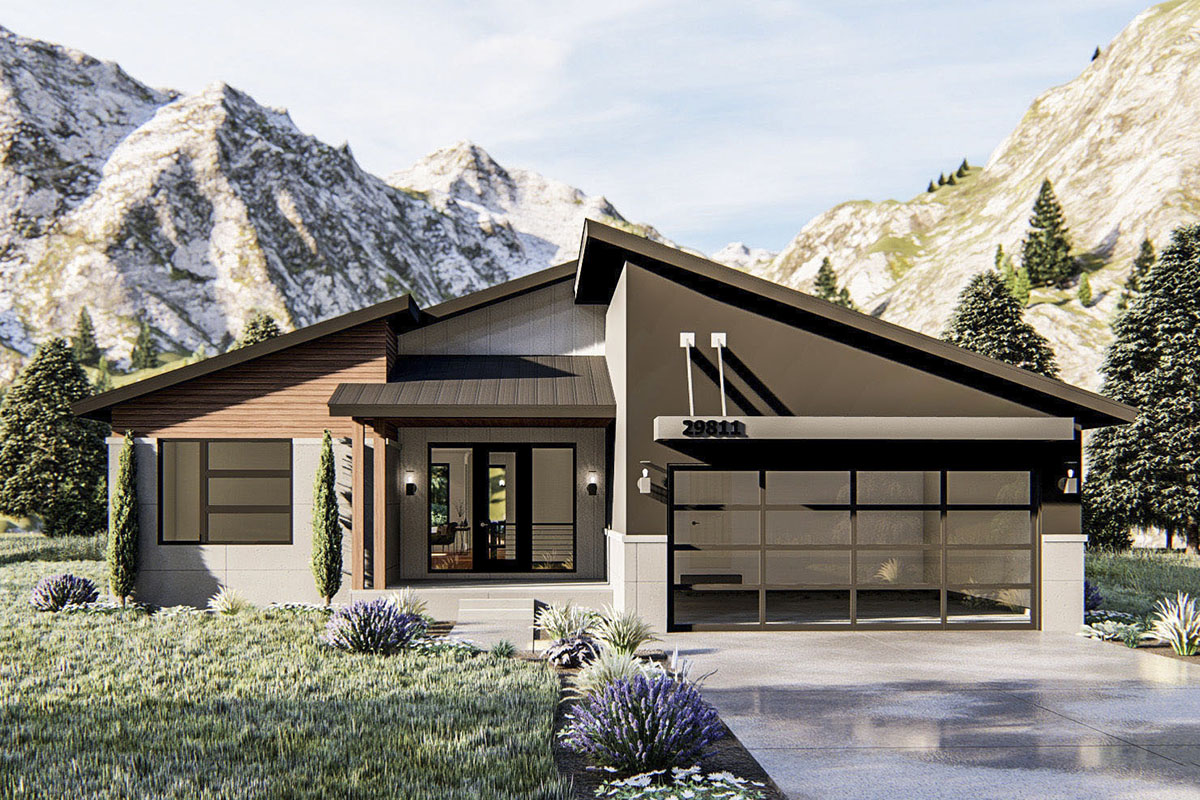 Modern Ranch Home Plan with Dynamic Roofline - 62815DJ ...