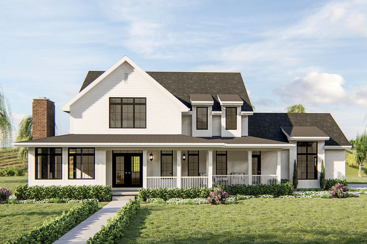 4 Bed Southern Farmhouse Plan With Large Covered Front