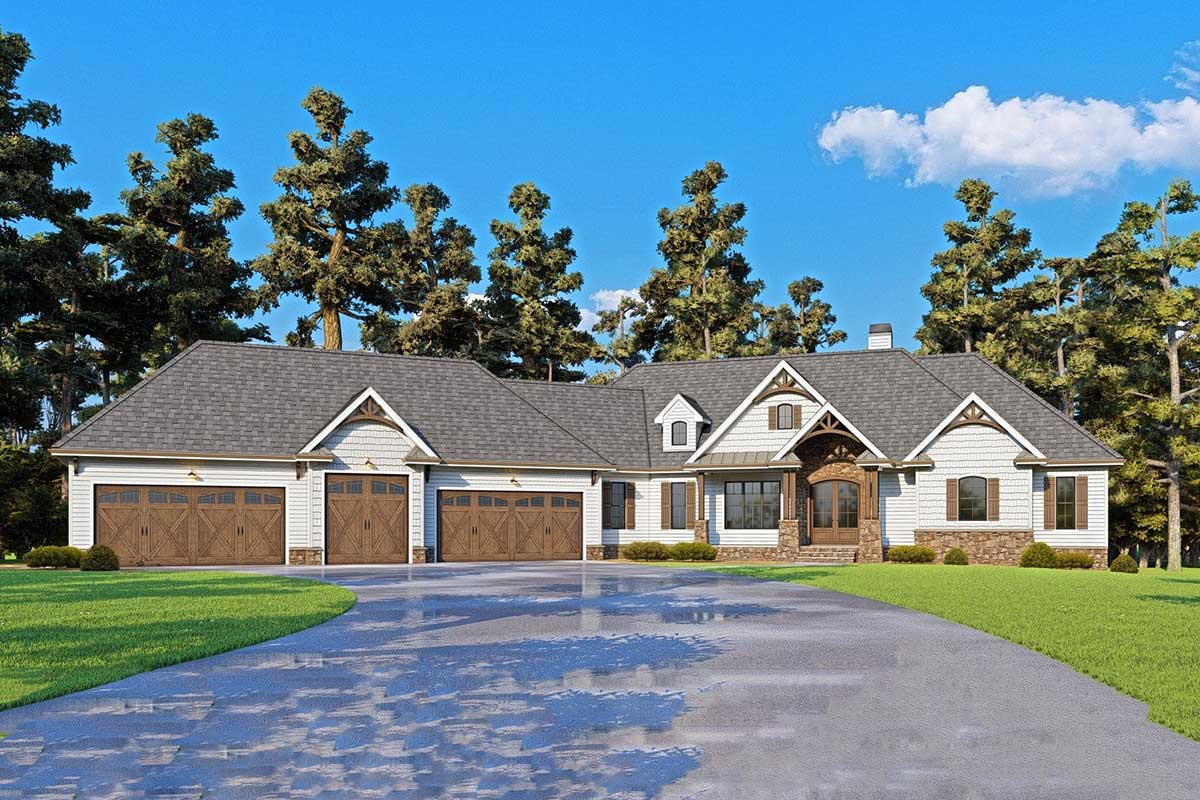 One Story Mountain Craftsman House Plan with Angled 5 Car