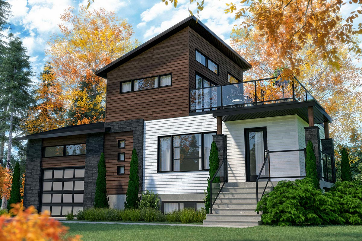 Modern Home Plan with Second Floor Outdoor Balcony ...