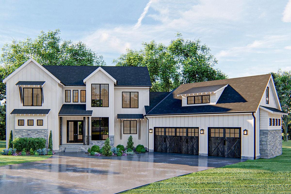 Modern Farmhouse Plan with Angled 3 Car Garage 62824DJ