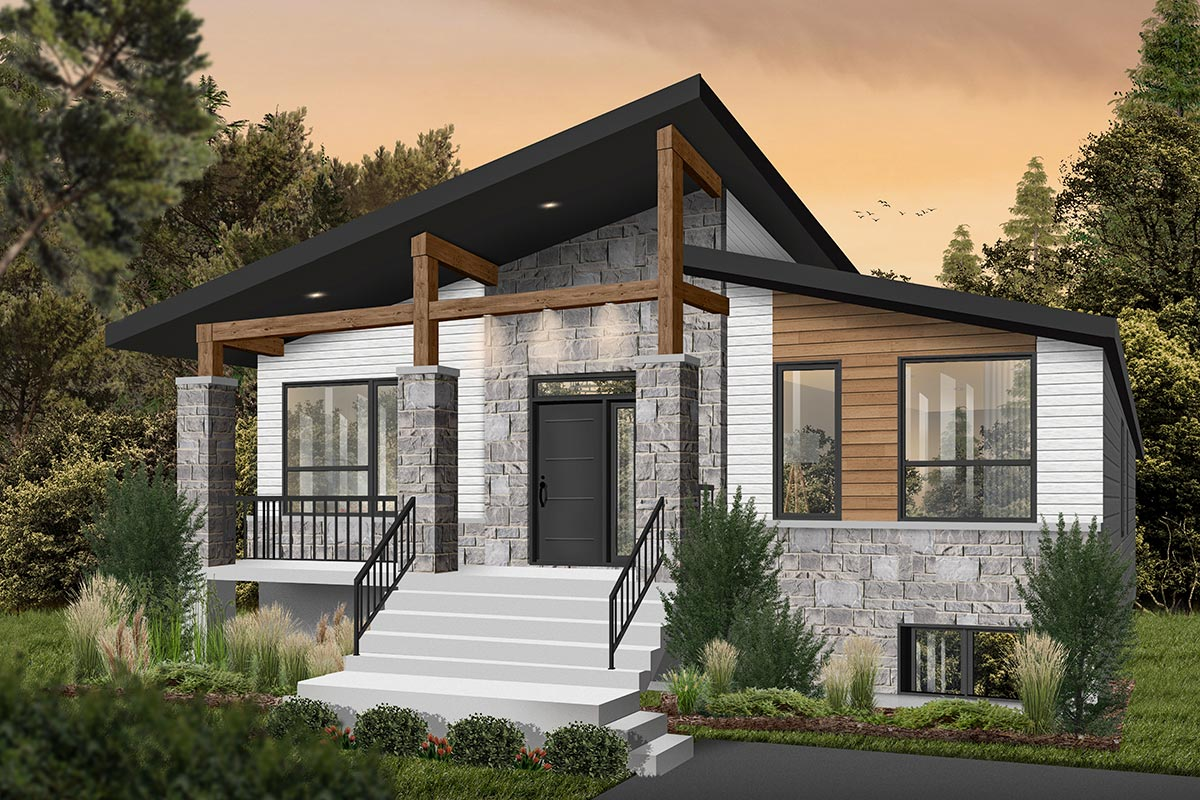 Modern Rustic 2-Bed Affordable Home Plan - 22563DR ...