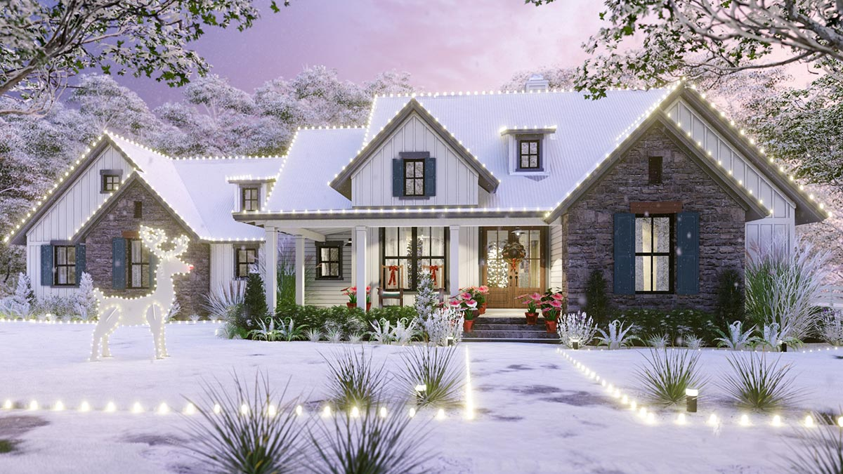3 Bedroom New American Farmhouse Plan With L Shaped Front Porch 16916wg Architectural