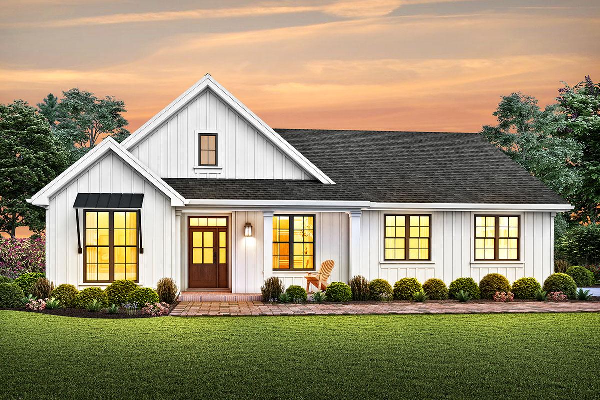 One-story Modern Farmhouse Plan with a Modest Footprint ...