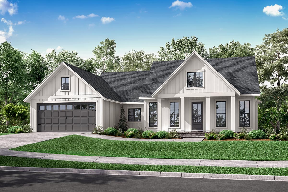One-Story Modern Farmhouse Plan with Open Concept Living ...