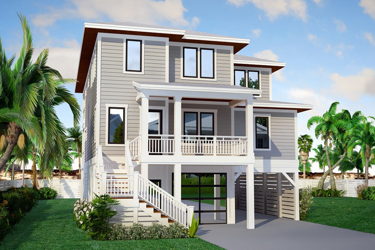 Contemporary Beach House Plan with Elevator - 15250NC ...