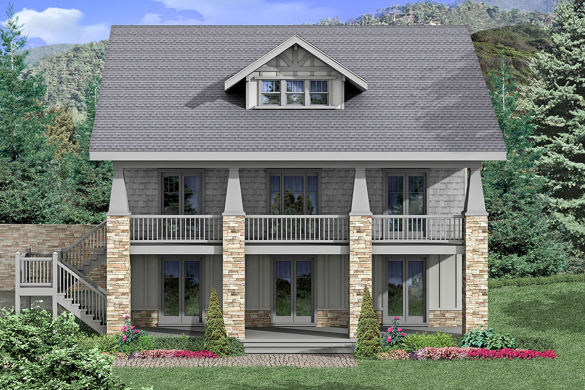 Attractive House  Plan  Designed for a Rear Sloping View  Lot