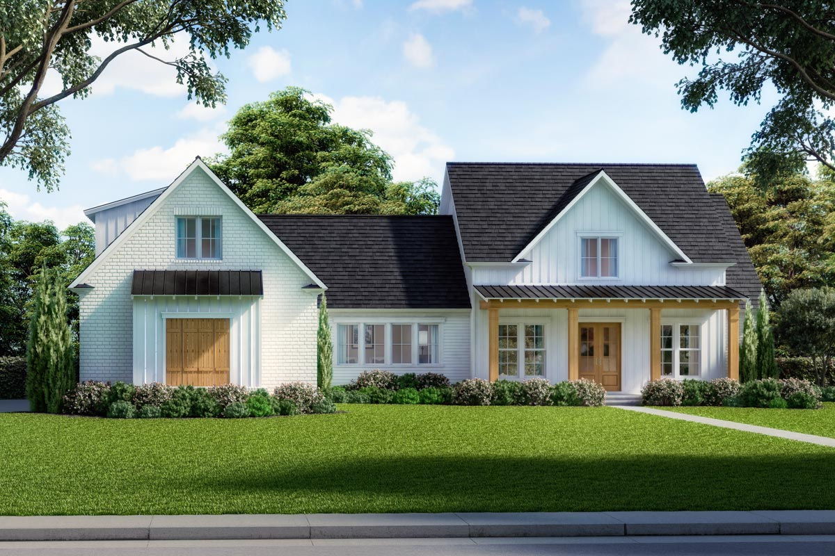 Exclusive Modern Farmhouse Plan with Open Concept Layout ...
