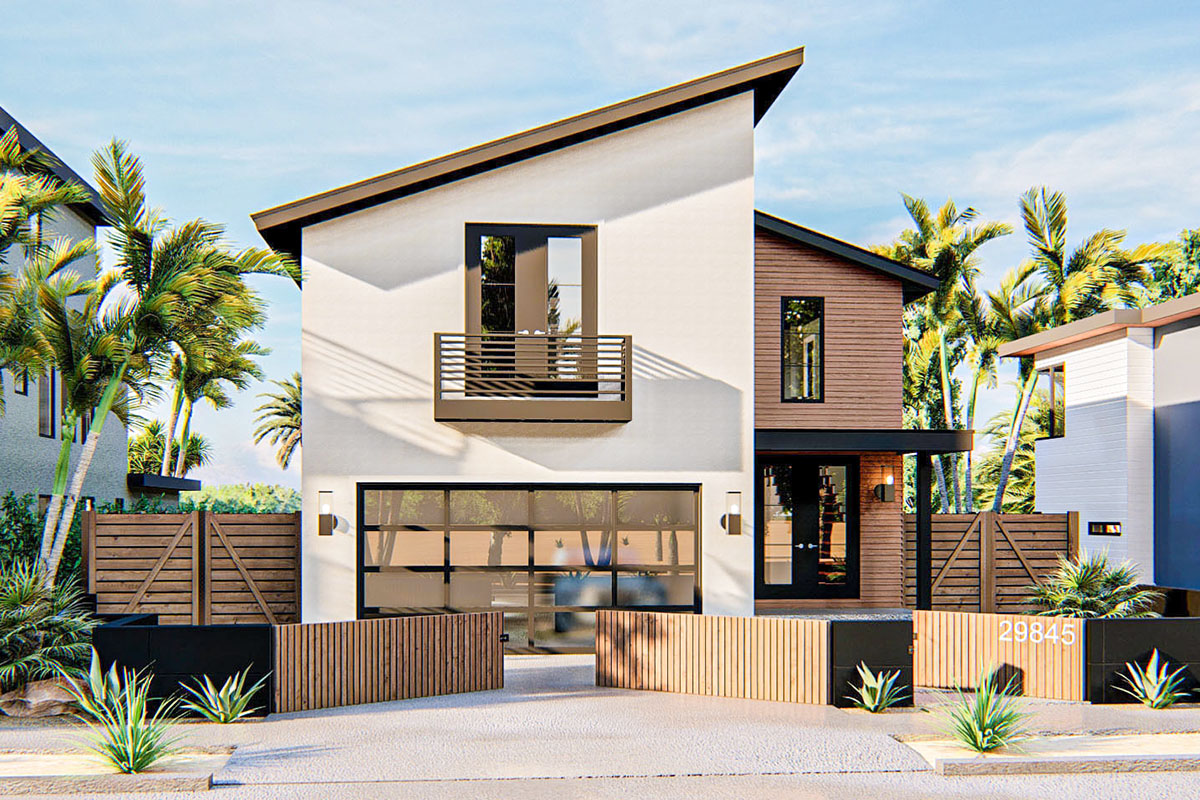 Narrow Lot Modern Coastal House Plan - 62860DJ ...