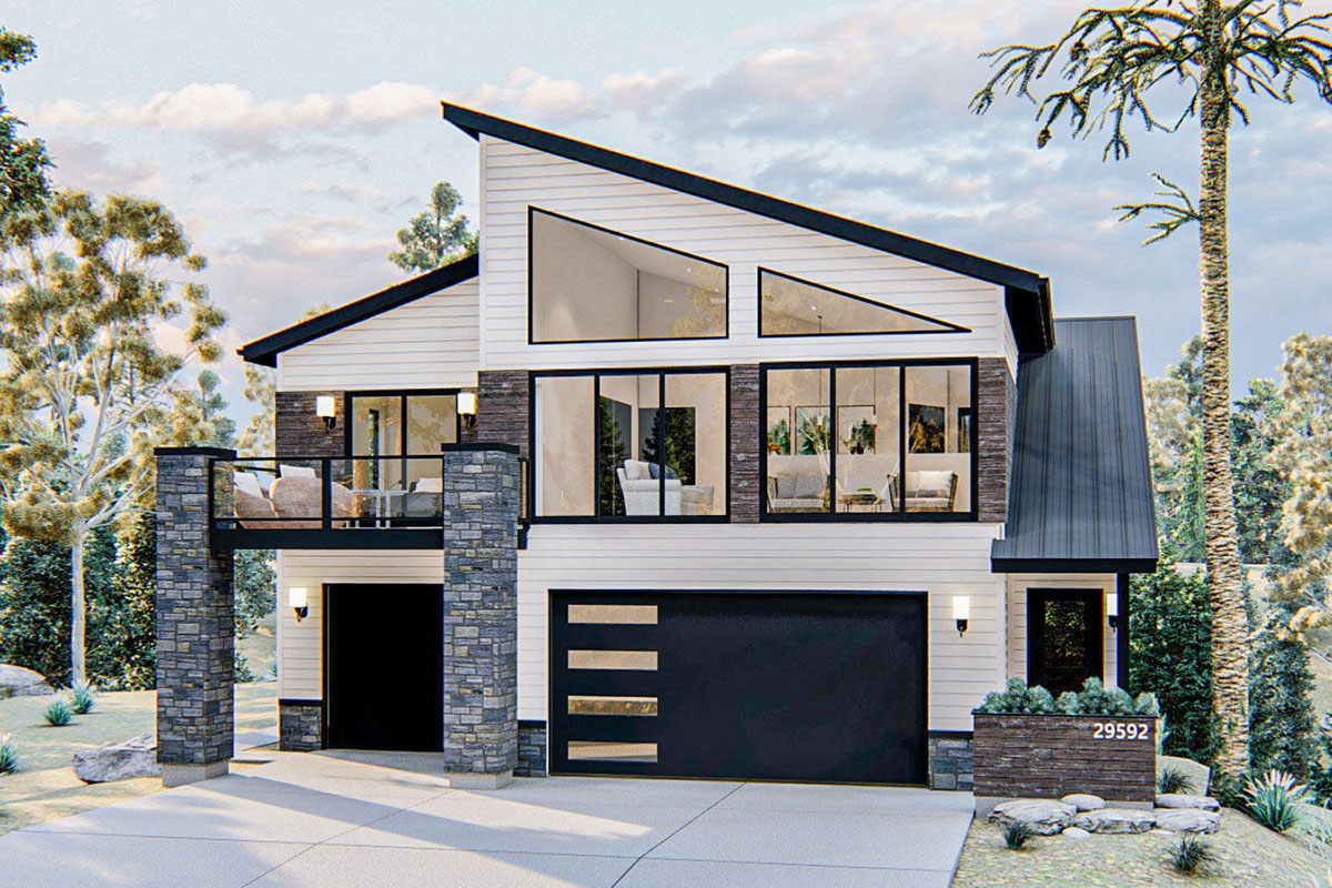 Modern Carriage House Plan with Upper Level Deck - 62862DJ ...