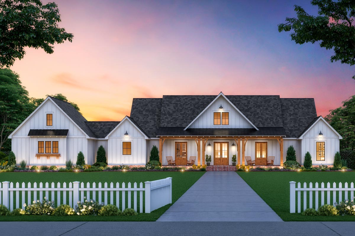Classic Farmhouse Plan With Split Bedrooms