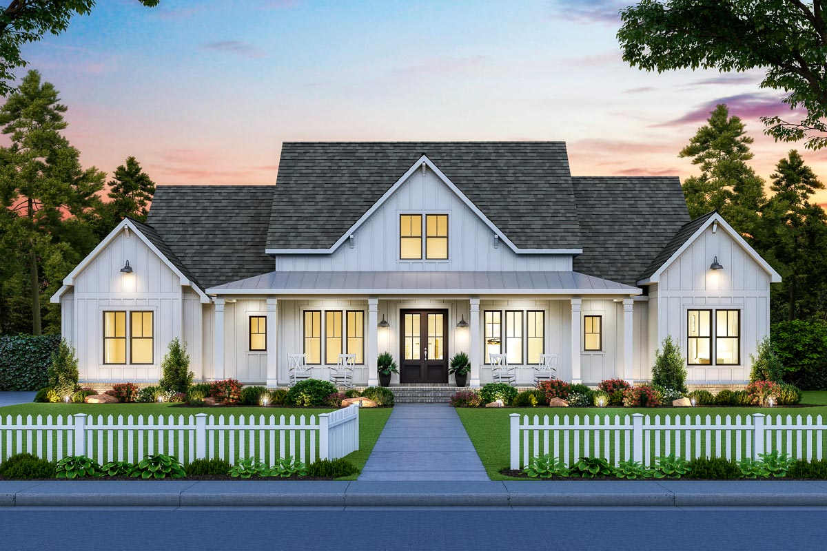 Perfectly Balanced 4-Bed Modern Farmhouse Plan - 56478SM ...