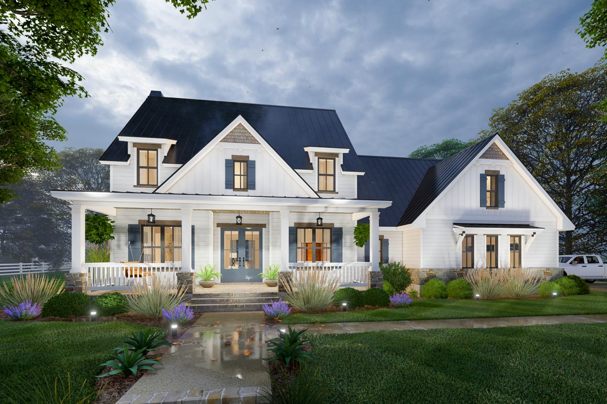 Modern Farmhouse Plan with 2-Story Great Room and Upstairs ...