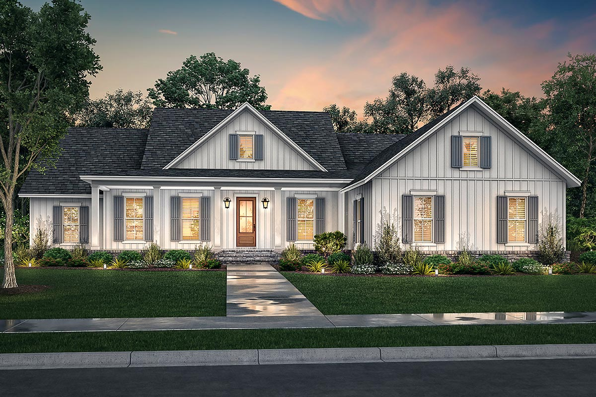 One Story 4-Bed Modern Farmhouse Plan with Home Office ...