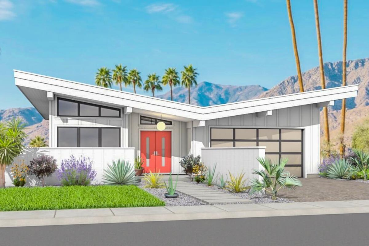 2 Bed Mid-Century Modern House Plan with Attached Garage ...