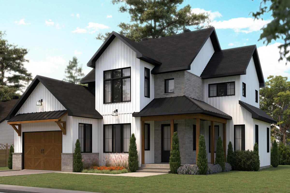 Two-Story Modern Farmhouse Plan with Home Office and ...