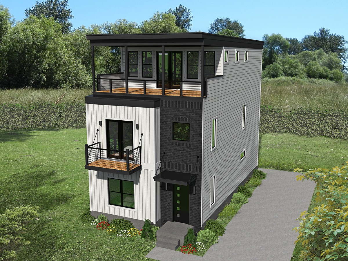 Modern Contemporary 3-Story Home Plan with Ideal for ...