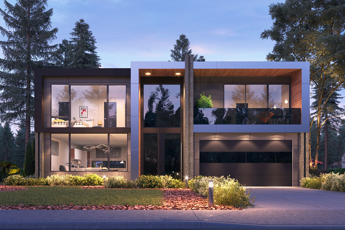 Contemporary Two-story House Plan with Open Concept Floor ...