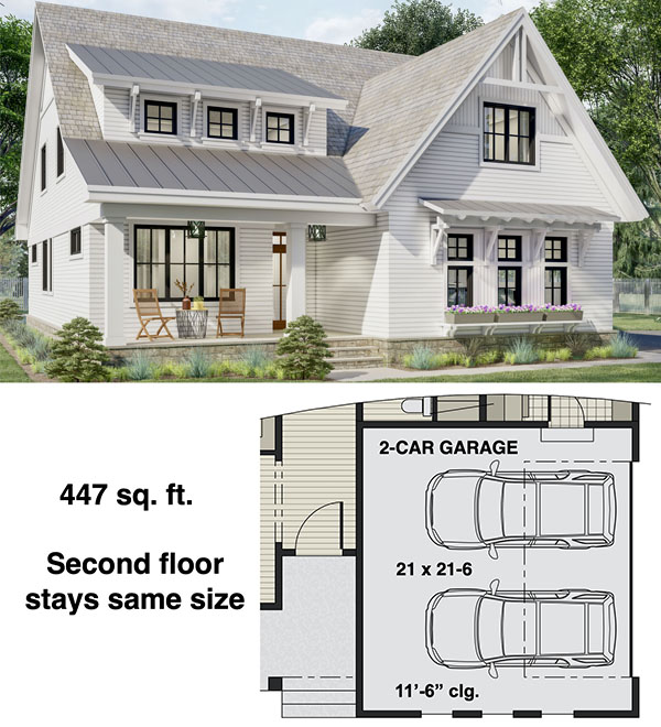 Two-story New American Home Plan with Laundry on Both Floors - 14697RK floor plan - 2-Car Side Garage Option