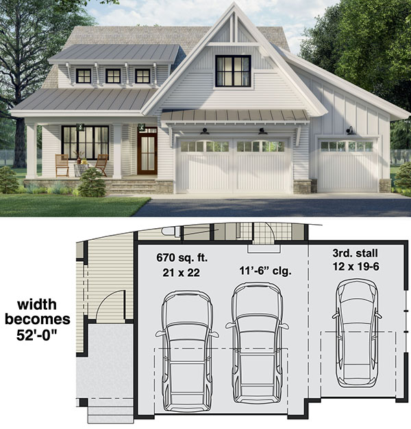 Two-story New American Home Plan with Laundry on Both Floors - 14697RK floor plan - 3-Car Front Garage Option