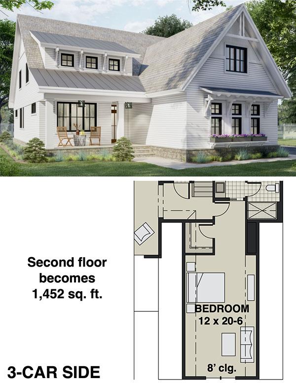 Two-story New American Home Plan with Laundry on Both Floors - 14697RK floor plan - 3-Car Side Garage Bonus Level Option